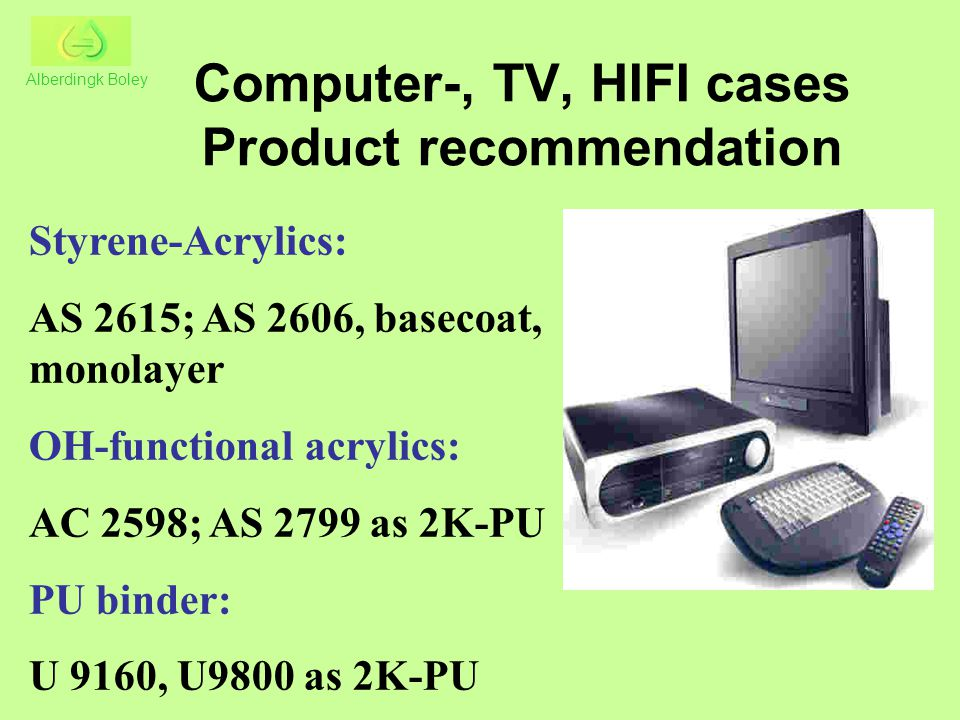 Computer-, TV, HIFI cases Product recommendation Styrene-Acrylics: AS 2615; AS 2606, basecoat, monolayer OH-functional acrylics: AC 2598; AS 2799 as 2K-PU PU binder: U 9160, U9800 as 2K-PU Alberdingk Boley