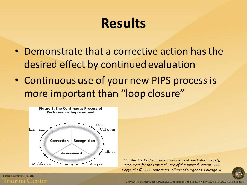 Results Demonstrate that a corrective action has the desired effect by continued evaluation Continuous use of your new PIPS process is more important than loop closure Chapter 16, Performance Improvement and Patient Safety, Resources for the Optimal Care of the Injured Patient 2006 Copyright © 2006 American College of Surgeons, Chicago, IL