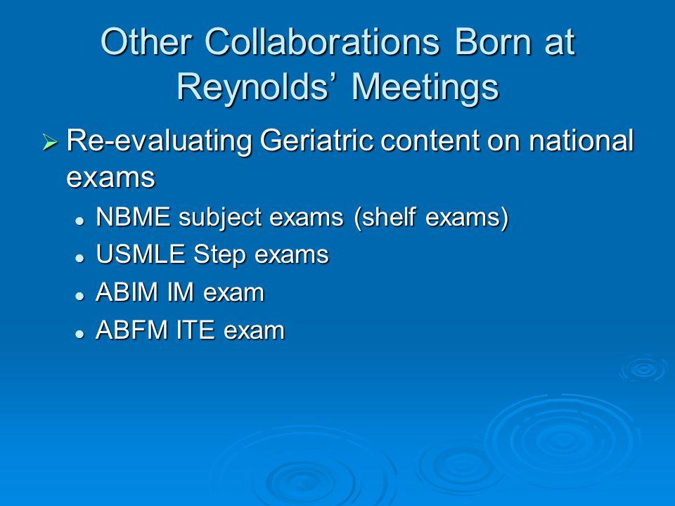 Reynolds Schools vs. All Fellowship Programs in Geriatrics