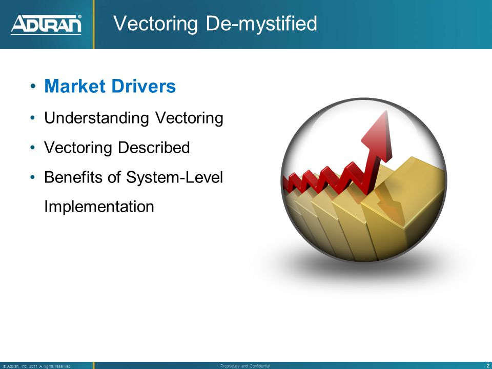 2 ® Adtran, Inc. 2011 A rights reserved Proprietary and Confidential Vectoring De-mystified Market Drivers Understanding Vectoring Vectoring Described