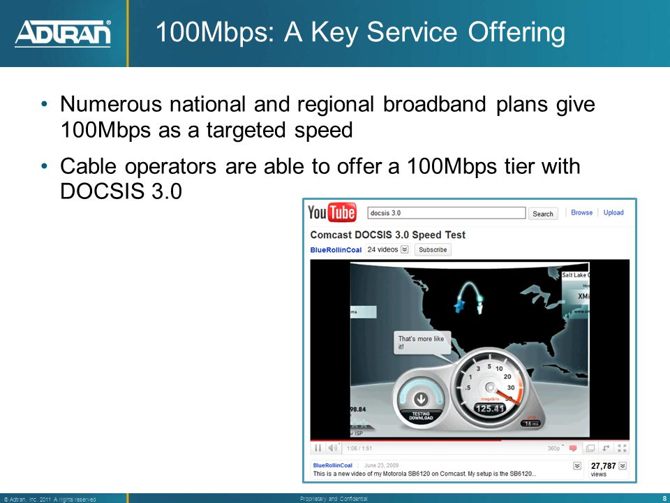8 ® Adtran, Inc. 2011 A rights reserved Proprietary and Confidential Numerous national and regional broadband plans give 100Mbps as a targeted speed C