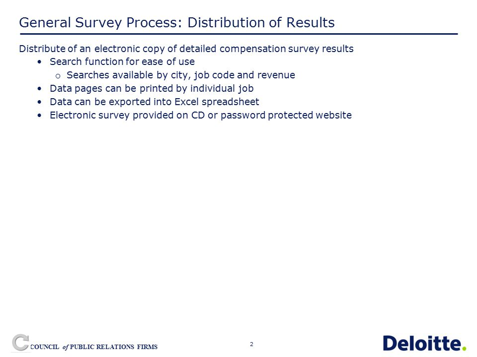 3 COUNCIL of PUBLIC RELATIONS FIRMS General Survey Process: Distribution of Results Currently the distribution method includes a hard copy of survey results in three binders: Compensation Binder Benefits Binder Billing Rate Binder Polling Question: How many firms prefer the printed survey reports to the CD database?