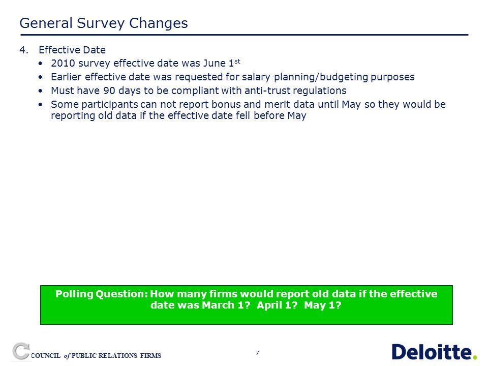 7 COUNCIL of PUBLIC RELATIONS FIRMS General Survey Changes 4.