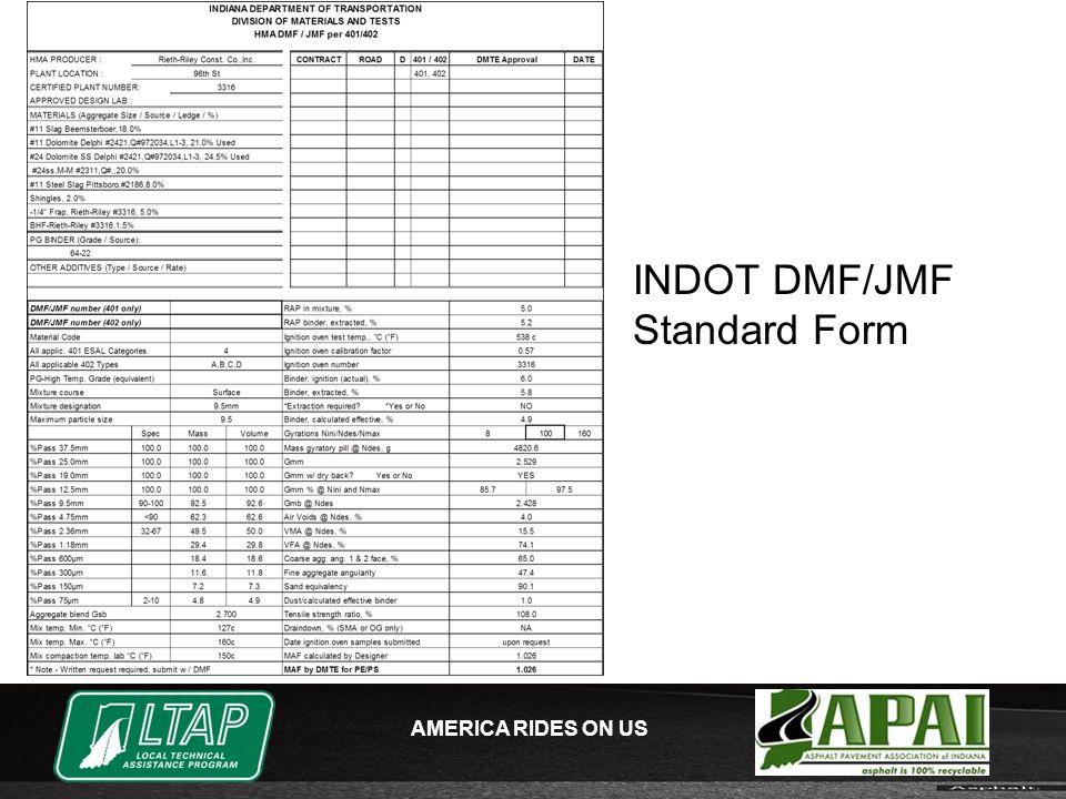 AMERICA RIDES ON US INDOT DMF/JMF Standard Form