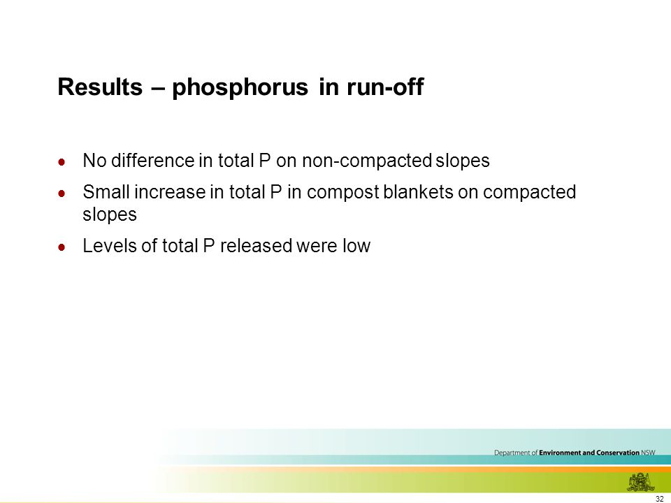 32 Results – phosphorus in run-off  No difference in total P on non-compacted slopes  Small increase in total P in compost blankets on compacted slopes  Levels of total P released were low