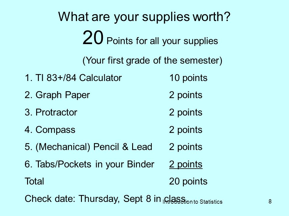 Introduction to Statistics 8 What are your supplies worth.