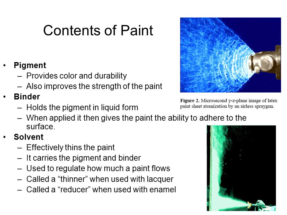 Contents of Paint Pigment –Provides color and durability –Also improves the strength of the paint Binder –Holds the pigment in liquid form –When applied it then gives the paint the ability to adhere to the surface.