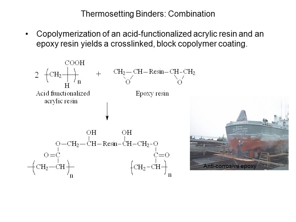 Thermosetting Binders: Combination Copolymerization of an acid-functionalized acrylic resin and an epoxy resin yields a crosslinked, block copolymer coating.