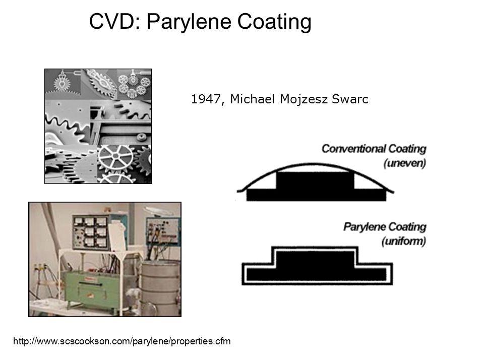 1947, Michael Mojzesz Swarc http://www.scscookson.com/parylene/properties.cfm CVD: Parylene Coating