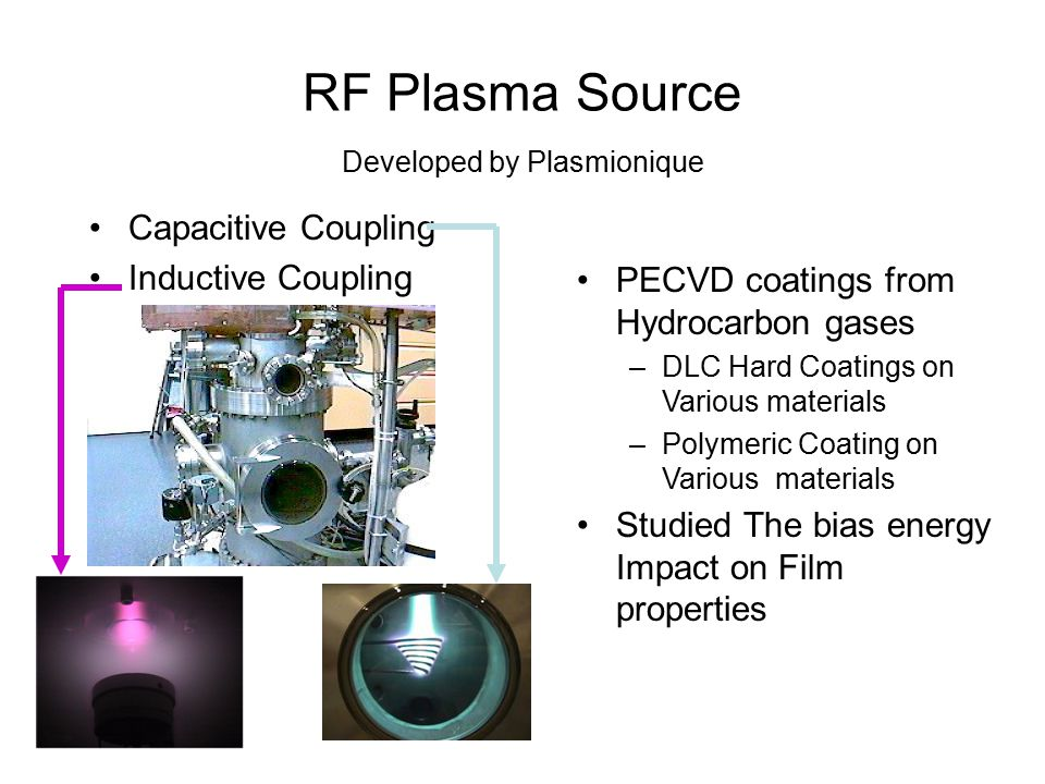 RF Plasma Source Developed by Plasmionique PECVD coatings from Hydrocarbon gases –DLC Hard Coatings on Various materials –Polymeric Coating on Various materials Studied The bias energy Impact on Film properties Capacitive Coupling Inductive Coupling