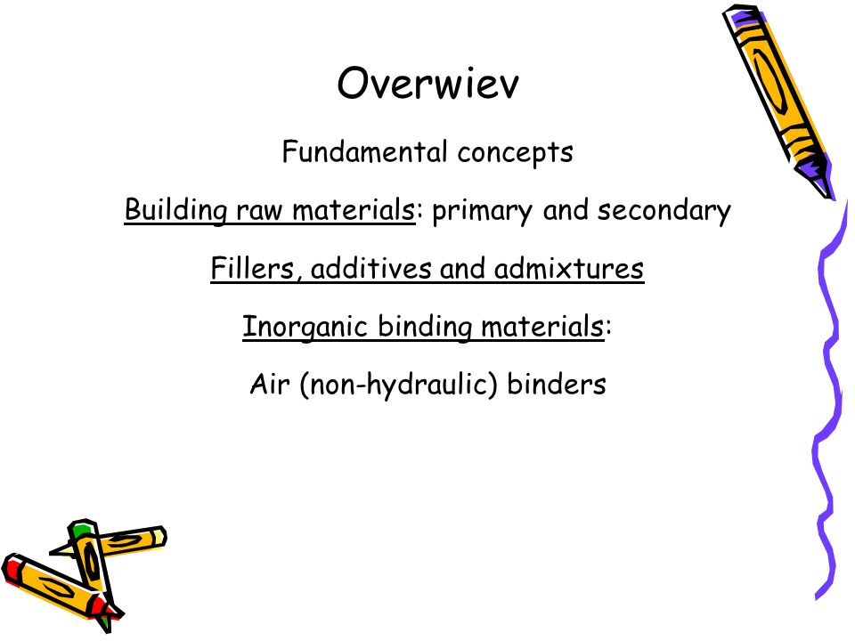 Overwiev Fundamental concepts Building raw materials: primary and secondary Fillers, additives and admixtures Inorganic binding materials: Air (non-hydraulic) binders