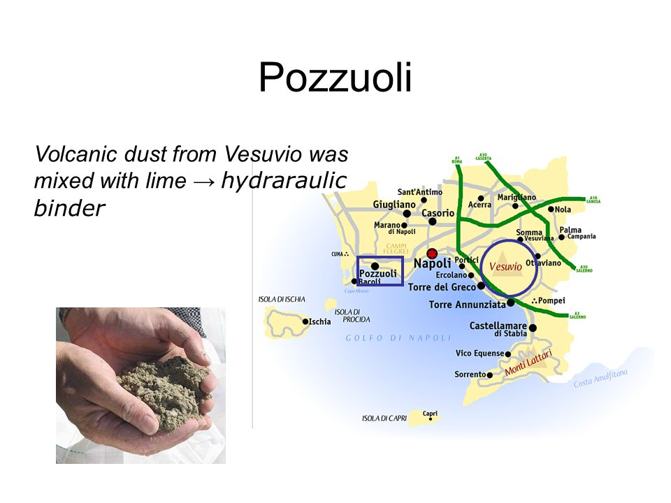 Pozzuoli Volcanic dust from Vesuvio was mixed with lime → hydraraulic binder