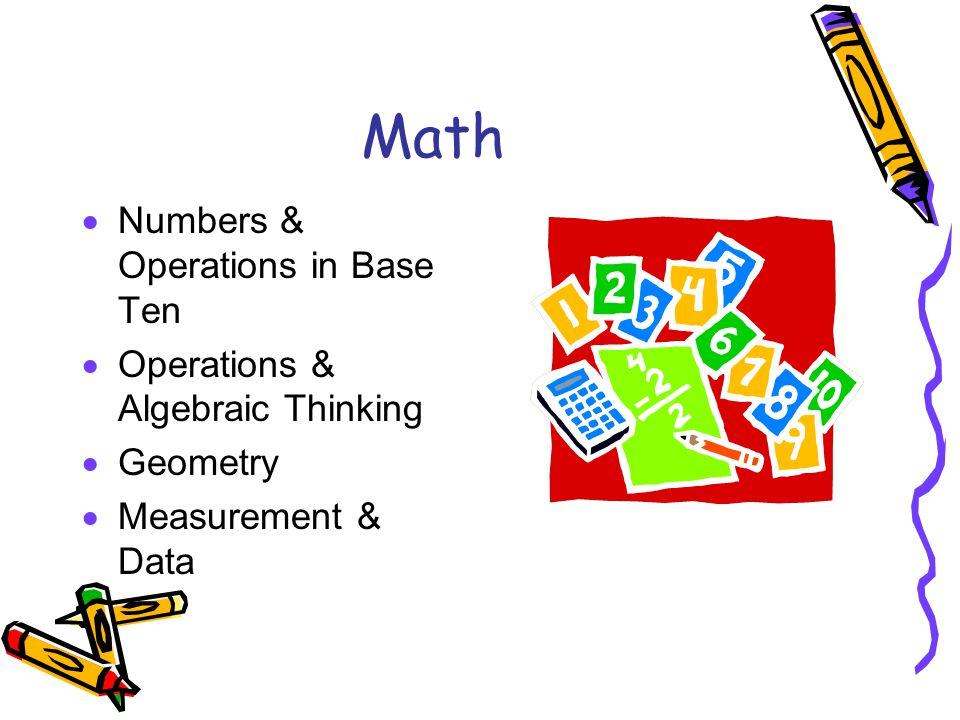Math  Numbers & Operations in Base Ten  Operations & Algebraic Thinking  Geometry  Measurement & Data