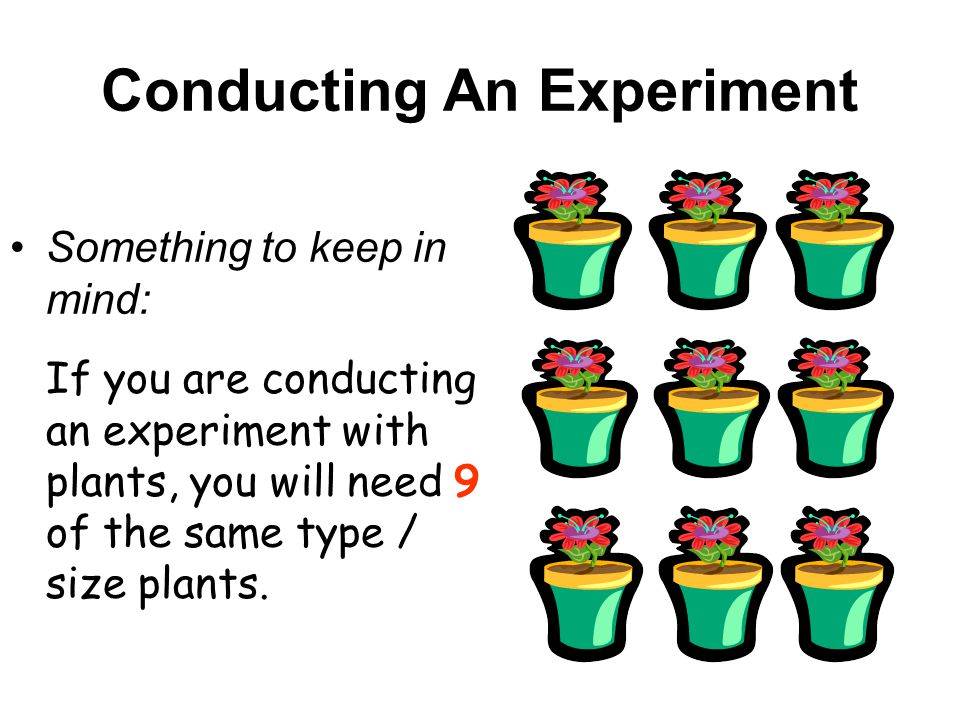 Conducting An Experiment Something to keep in mind: If you are conducting an experiment with plants, you will need 9 of the same type / size plants.