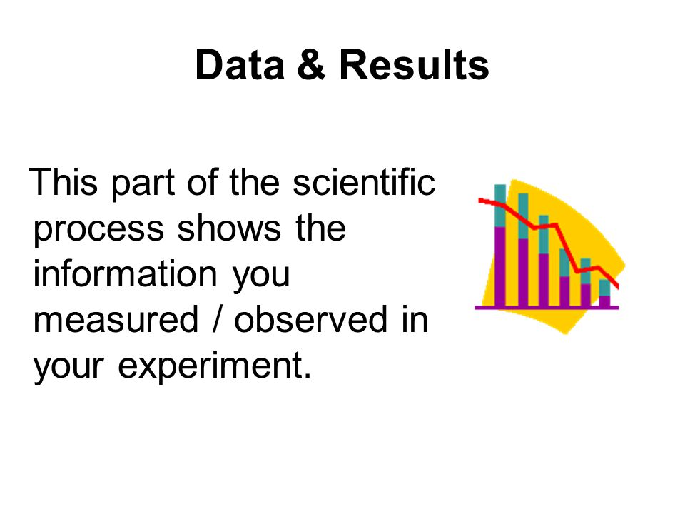 Data & Results This part of the scientific process shows the information you measured / observed in your experiment.
