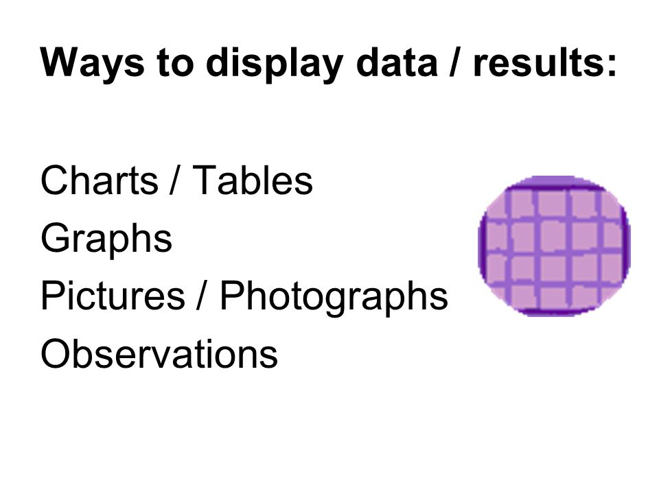 Ways to display data / results: Charts / Tables Graphs Pictures / Photographs Observations