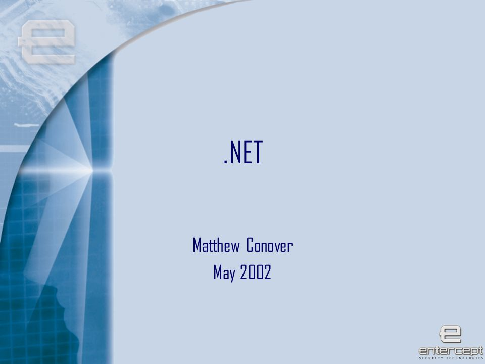 1.NET Matthew Conover May 2002
