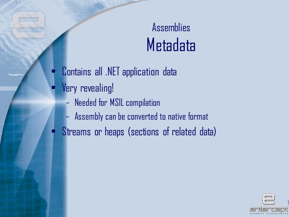 14 Assemblies Metadata Contains all.NET application data Very revealing.