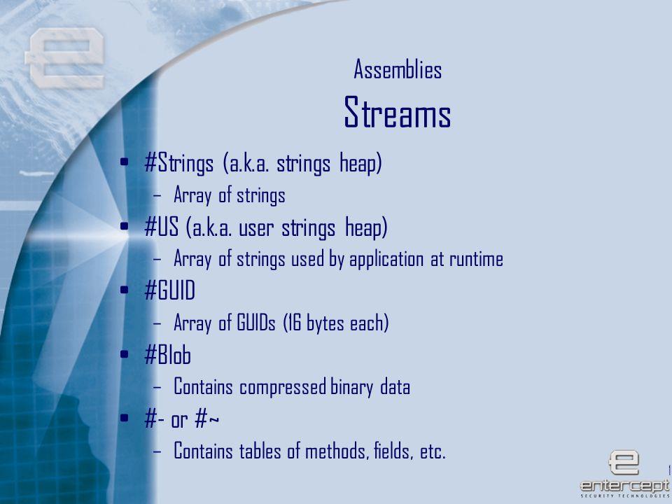 16 Assemblies Streams #Strings (a.k.a. strings heap) –Array of strings #US (a.k.a.