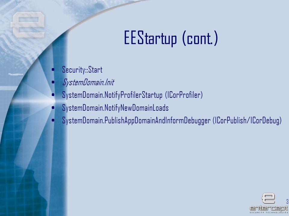 38 EEStartup (cont.) Security::Start SystemDomain.Init SystemDomain.NotifyProfilerStartup (ICorProfiler) SystemDomain.NotifyNewDomainLoads SystemDomain.PublishAppDomainAndInformDebugger (ICorPublish/ICorDebug)