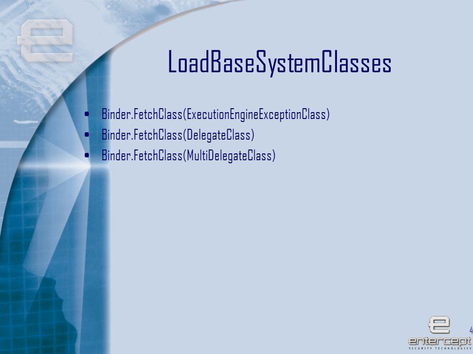 42 LoadBaseSystemClasses Binder.FetchClass(ExecutionEngineExceptionClass) Binder.FetchClass(DelegateClass) Binder.FetchClass(MultiDelegateClass)