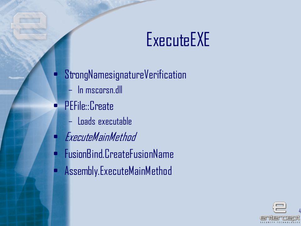 44 ExecuteEXE StrongNamesignatureVerification –In mscorsn.dll PEFile::Create –Loads executable ExecuteMainMethod FusionBind.CreateFusionName Assembly.ExecuteMainMethod