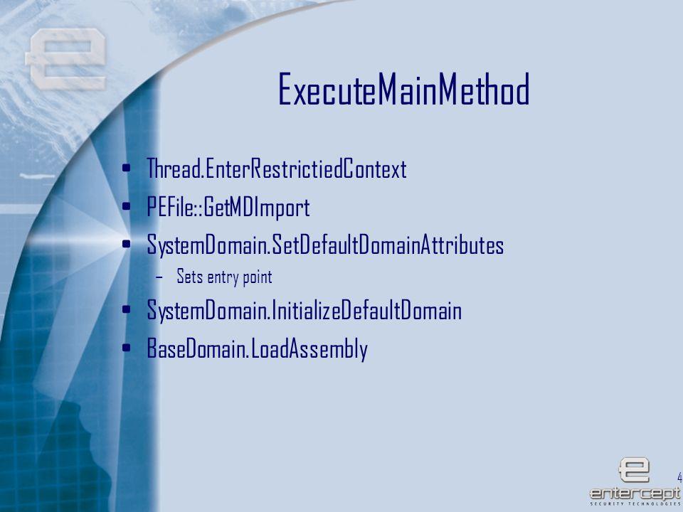 45 ExecuteMainMethod Thread.EnterRestrictiedContext PEFile::GetMDImport SystemDomain.SetDefaultDomainAttributes –Sets entry point SystemDomain.InitializeDefaultDomain BaseDomain.LoadAssembly