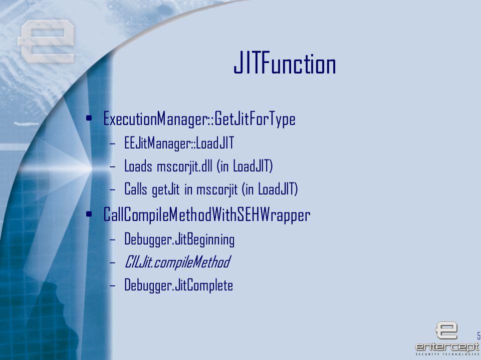 52 JITFunction ExecutionManager::GetJitForType –EEJitManager::LoadJIT –Loads mscorjit.dll (in LoadJIT) –Calls getJit in mscorjit (in LoadJIT) CallCompileMethodWithSEHWrapper –Debugger.JitBeginning –CILJit.compileMethod –Debugger.JitComplete