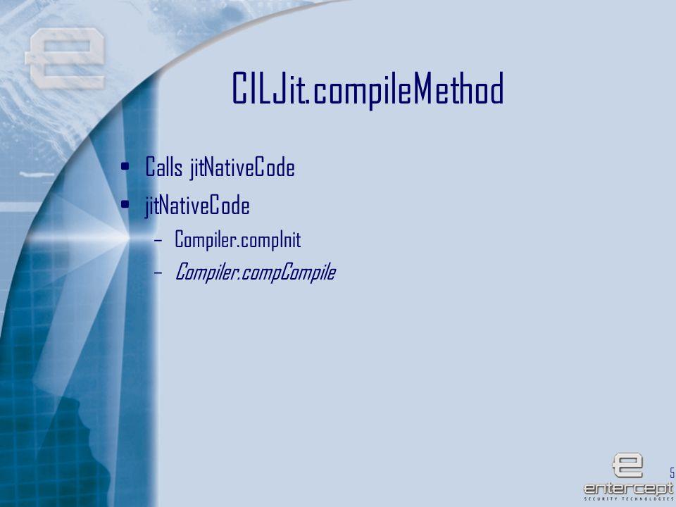 53 CILJit.compileMethod Calls jitNativeCode jitNativeCode –Compiler.compInit –Compiler.compCompile