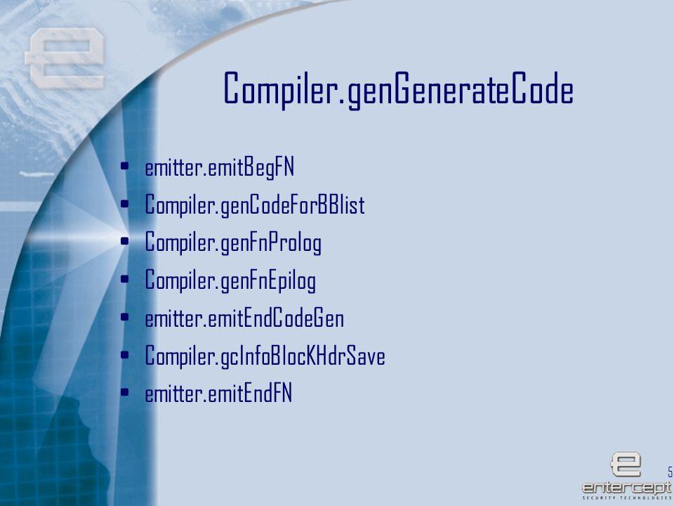 55 Compiler.genGenerateCode emitter.emitBegFN Compiler.genCodeForBBlist Compiler.genFnProlog Compiler.genFnEpilog emitter.emitEndCodeGen Compiler.gcInfoBlocKHdrSave emitter.emitEndFN