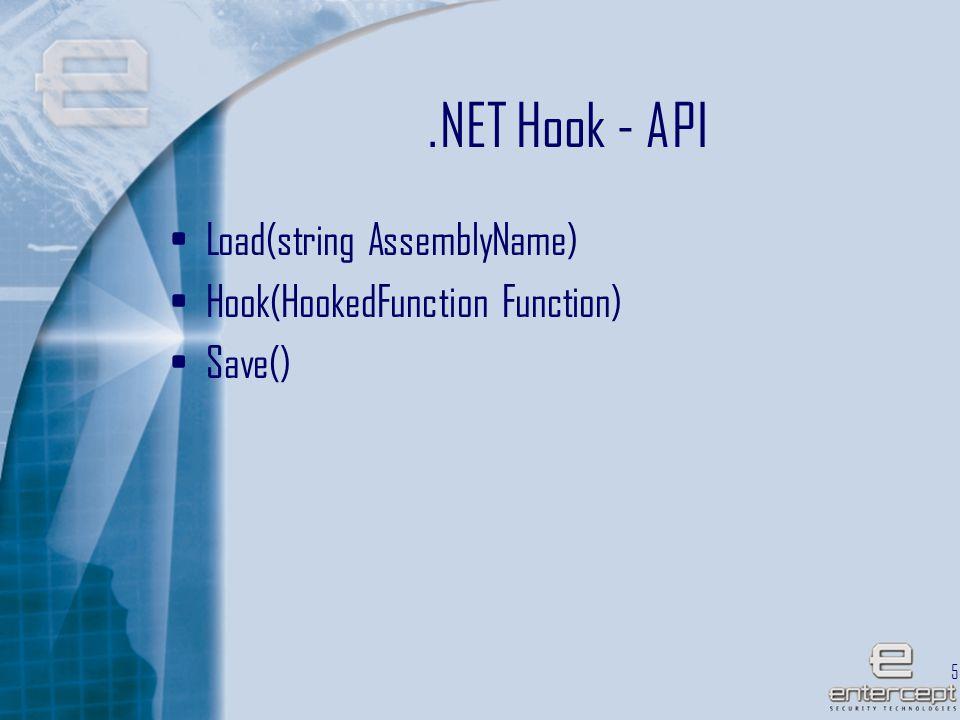 58.NET Hook - API Load(string AssemblyName) Hook(HookedFunction Function) Save()