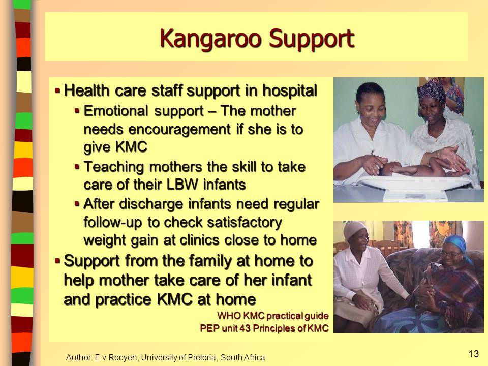 Author: E v Rooyen, University of Pretoria, South Africa 14 Kangaroo Position Kangaroo Nutrition Kangaroo Discharge Diagram of KMC Components KMC workbook AP Bergh