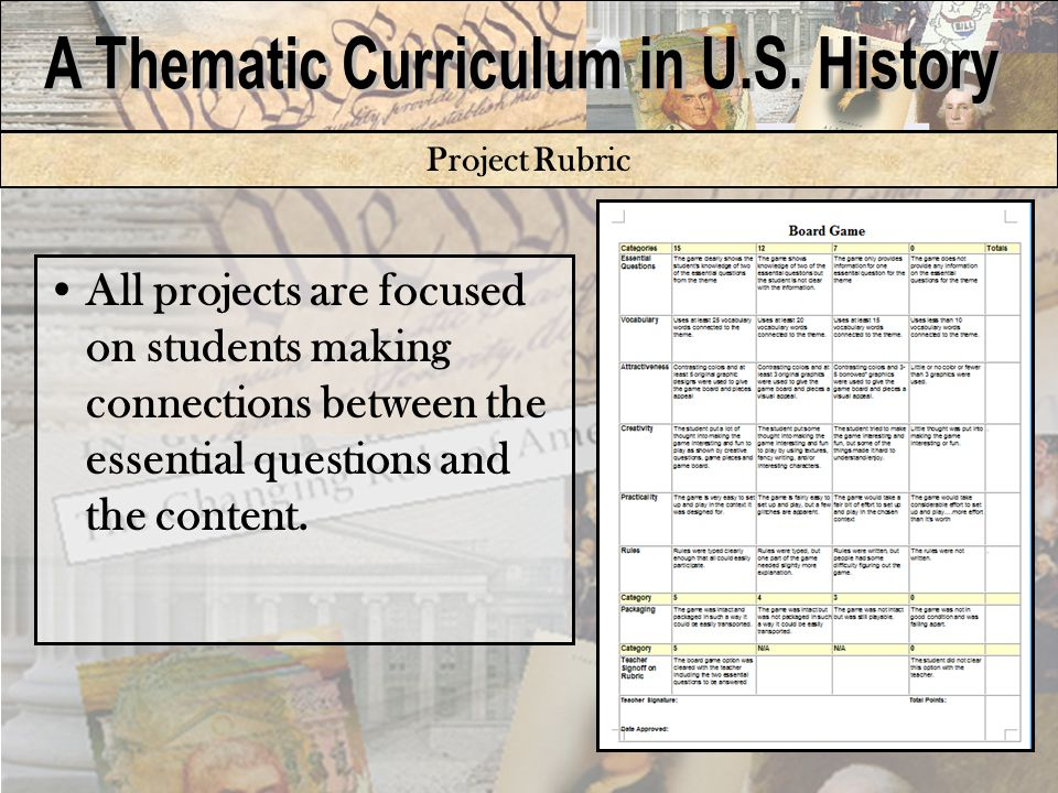 Project Rubric All projects are focused on students making connections between the essential questions and the content.