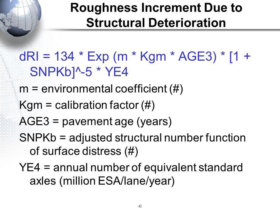 42 dRI = 134 * Exp (m * Kgm * AGE3) * [1 + SNPKb]^-5 * YE4 m = environmental coefficient (#) Kgm = calibration factor (#) AGE3 = pavement age (years)