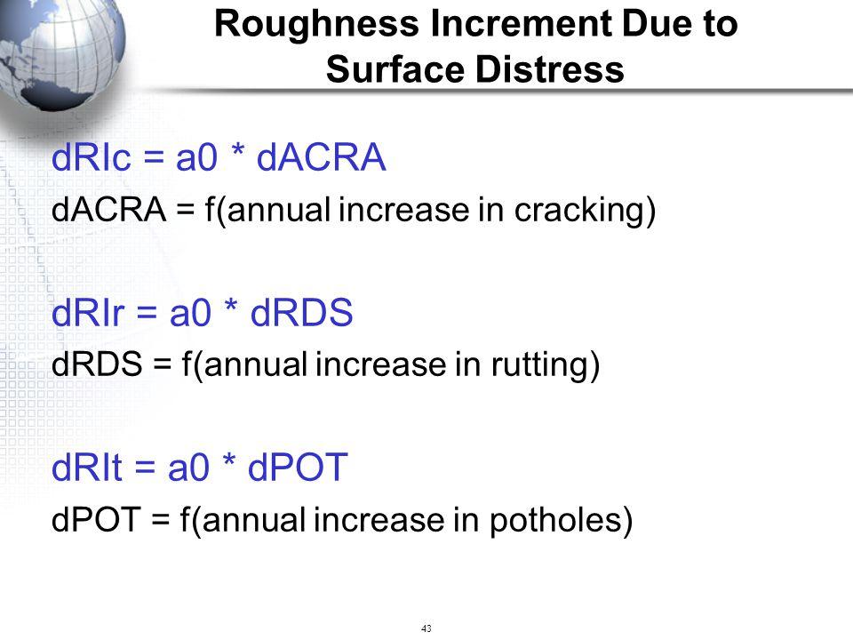 43 dRIc = a0 * dACRA dACRA = f(annual increase in cracking) dRIr = a0 * dRDS dRDS = f(annual increase in rutting) dRIt = a0 * dPOT dPOT = f(annual inc