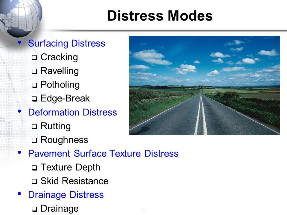 5 Distress Modes Surfacing Distress  Cracking  Ravelling  Potholing  Edge-Break Deformation Distress  Rutting  Roughness Pavement Surface Textur