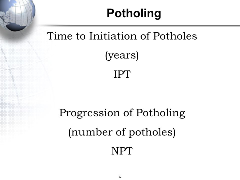 62 Time to Initiation of Potholes (years) IPT Progression of Potholing (number of potholes) NPT Potholing