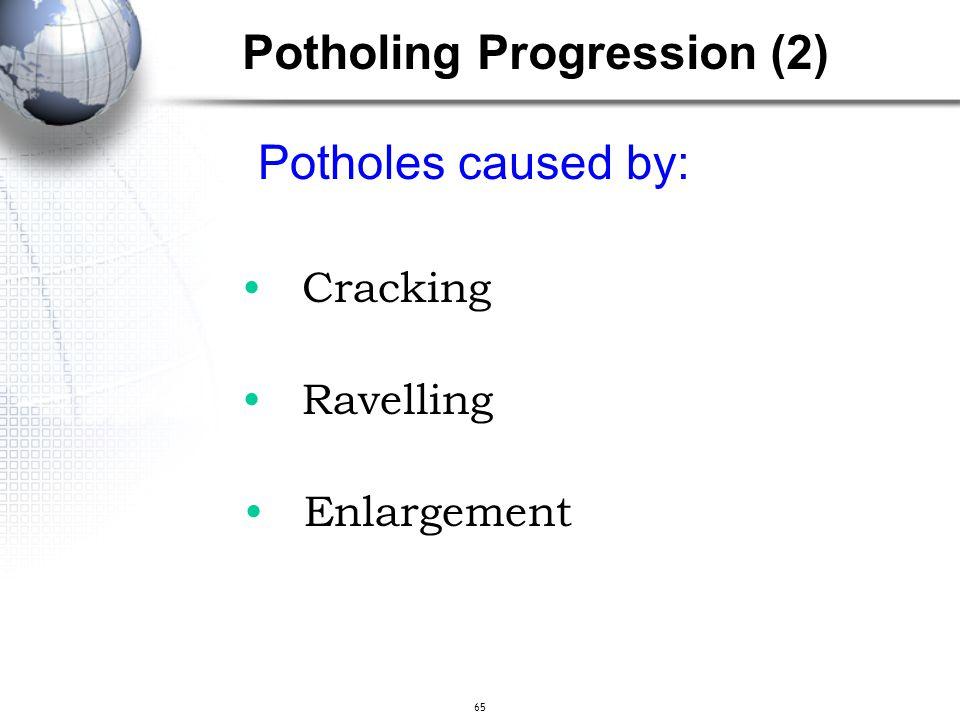 65 Potholes caused by: Cracking Ravelling Enlargement Potholing Progression (2)