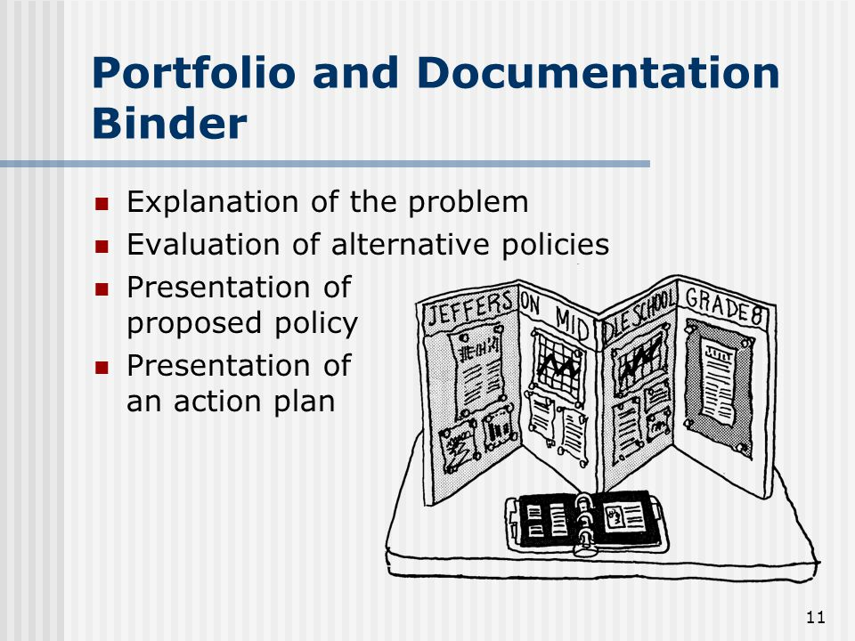 11 Portfolio and Documentation Binder Explanation of the problem Evaluation of alternative policies Presentation of proposed policy Presentation of an action plan