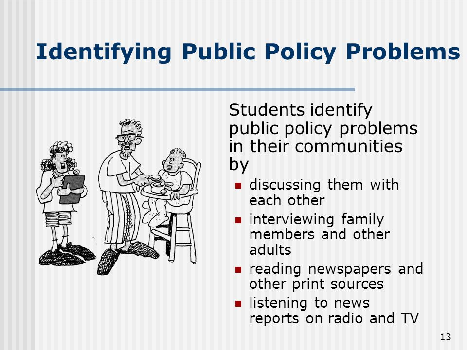 13 Identifying Public Policy Problems Students identify public policy problems in their communities by discussing them with each other interviewing family members and other adults reading newspapers and other print sources listening to news reports on radio and TV