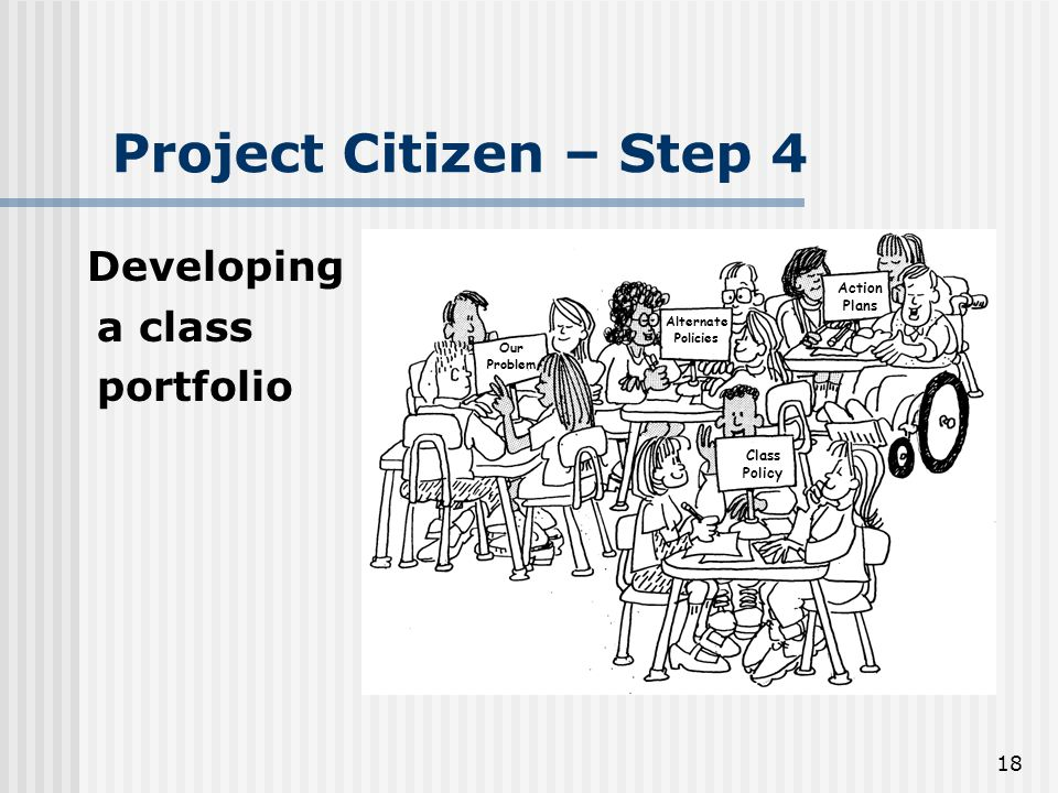 18 Project Citizen – Step 4 Developing a class portfolio Class Policy Action Plans Alternate Policies Our Problem