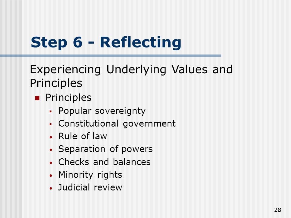 28 Step 6 - Reflecting Principles  Popular sovereignty  Constitutional government Rule of law Separation of powers Checks and balances Minority rights Judicial review Experiencing Underlying Values and Principles