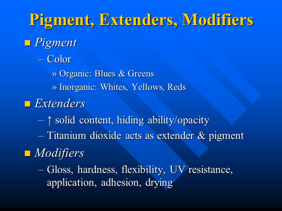 Pigment, Extenders, Modifiers Pigment Pigment –Color »Organic: Blues & Greens »Inorganic: Whites, Yellows, Reds Extenders Extenders –↑ solid content, hiding ability/opacity –Titanium dioxide acts as extender & pigment Modifiers Modifiers –Gloss, hardness, flexibility, UV resistance, application, adhesion, drying
