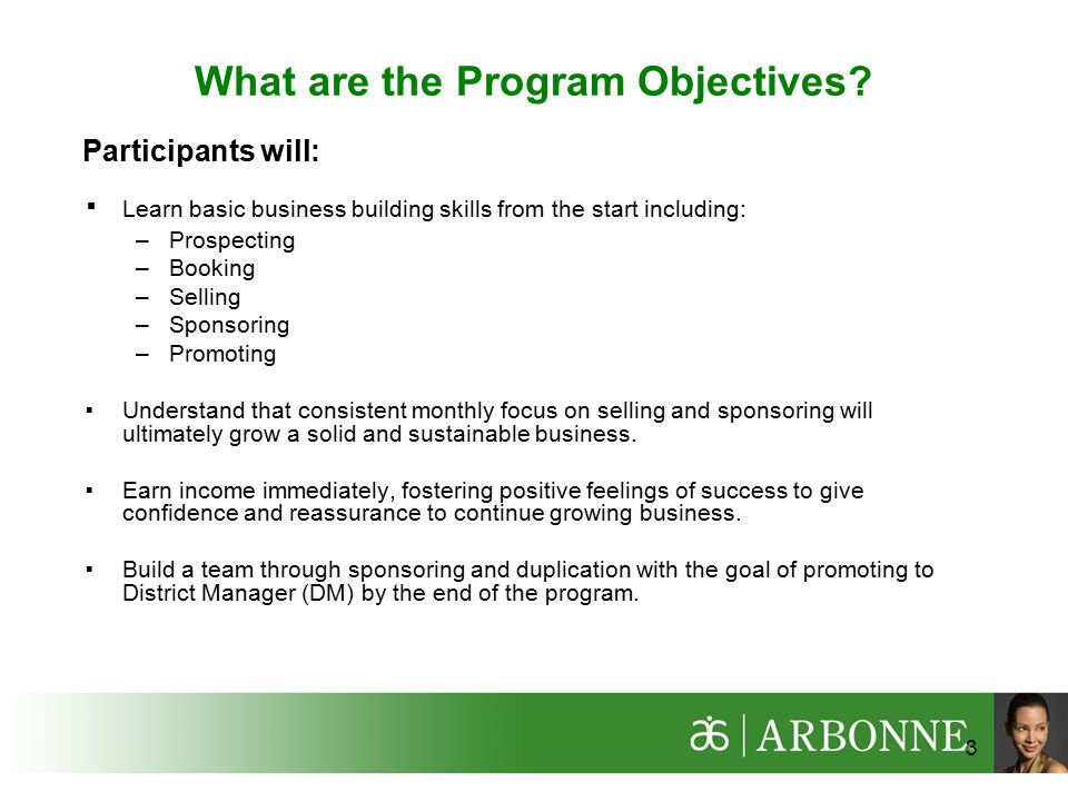 3 What are the Program Objectives.