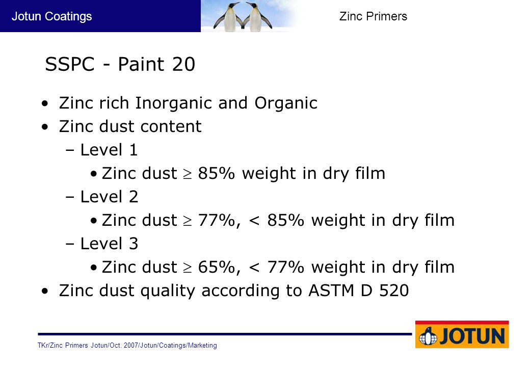 TKr/Zinc Primers Jotun/Oct. 2007/Jotun/Coatings/Marketing Jotun CoatingsZinc Primers SSPC - Paint 20 Zinc rich Inorganic and Organic Zinc dust content