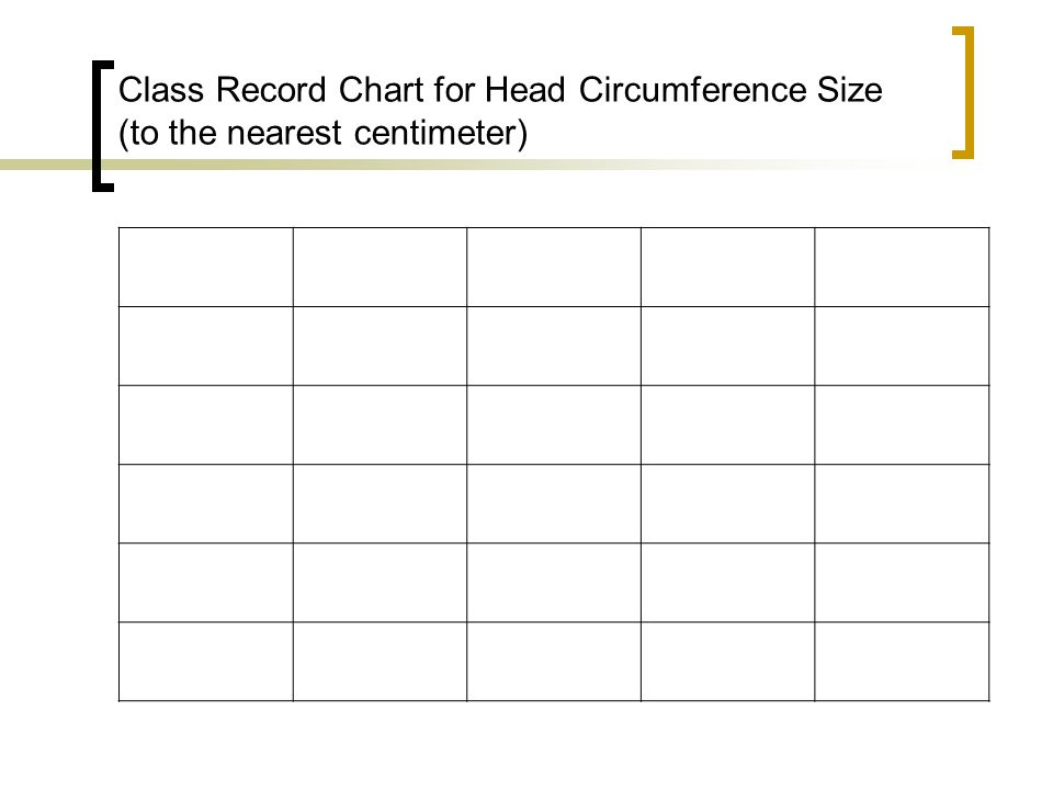Class Record Chart for Head Circumference Size (to the nearest centimeter)