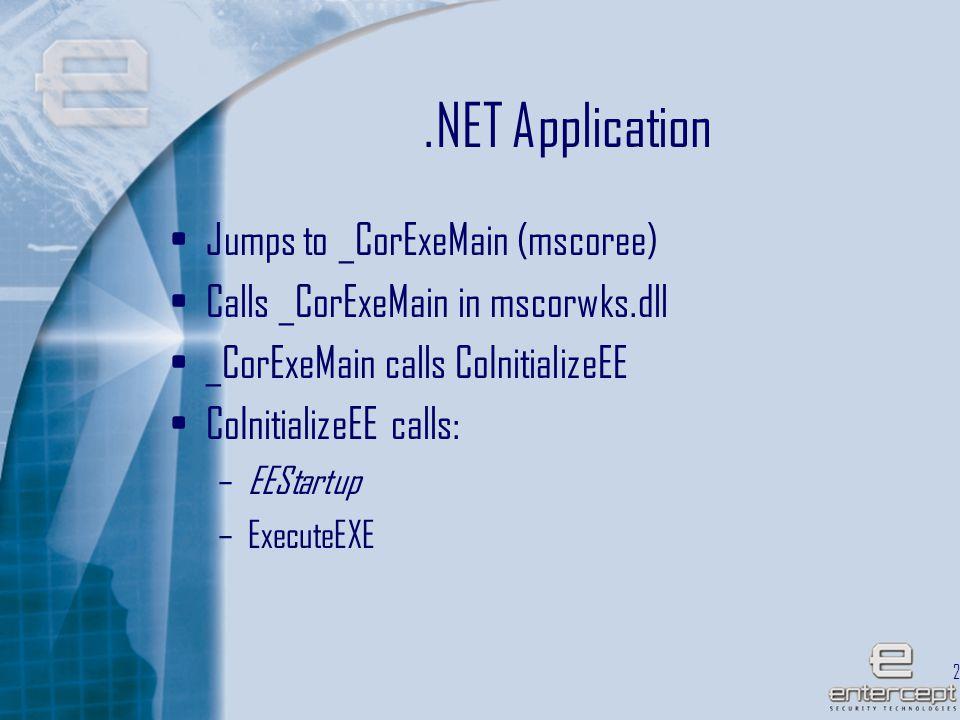 24.NET Application Jumps to _CorExeMain (mscoree) Calls _CorExeMain in mscorwks.dll _CorExeMain calls CoInitializeEE CoInitializeEE calls: –EEStartup –ExecuteEXE