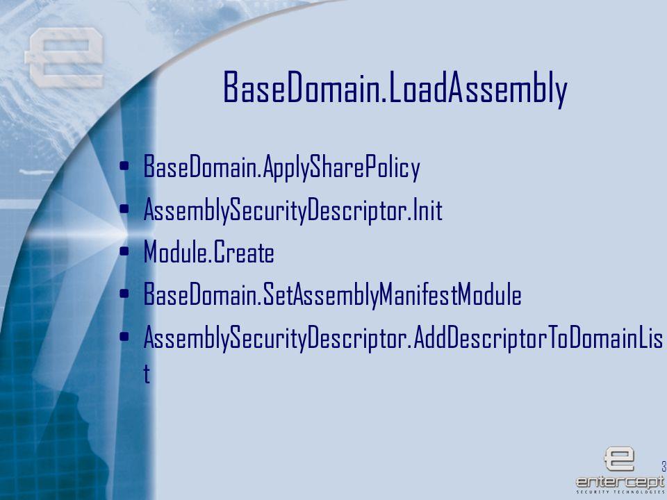 34 BaseDomain.LoadAssembly BaseDomain.ApplySharePolicy AssemblySecurityDescriptor.Init Module.Create BaseDomain.SetAssemblyManifestModule AssemblySecurityDescriptor.AddDescriptorToDomainLis t