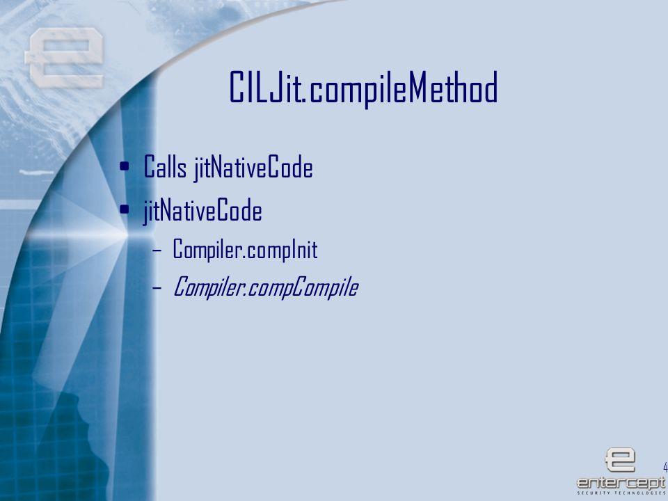 42 CILJit.compileMethod Calls jitNativeCode jitNativeCode –Compiler.compInit –Compiler.compCompile