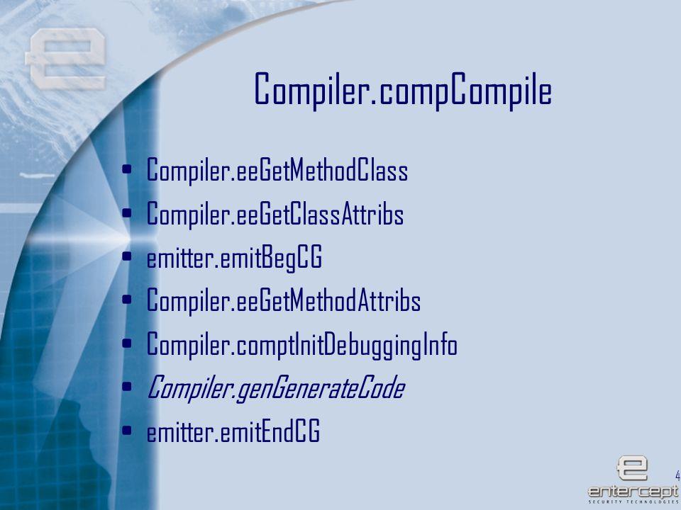 43 Compiler.compCompile Compiler.eeGetMethodClass Compiler.eeGetClassAttribs emitter.emitBegCG Compiler.eeGetMethodAttribs Compiler.comptInitDebuggingInfo Compiler.genGenerateCode emitter.emitEndCG